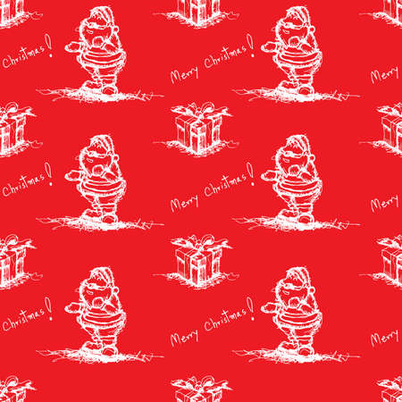 red seamless pattern santa claus Vector