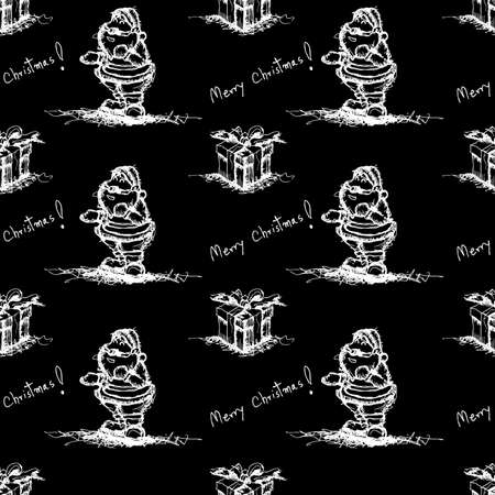 black seamless pattern santa claus Vector