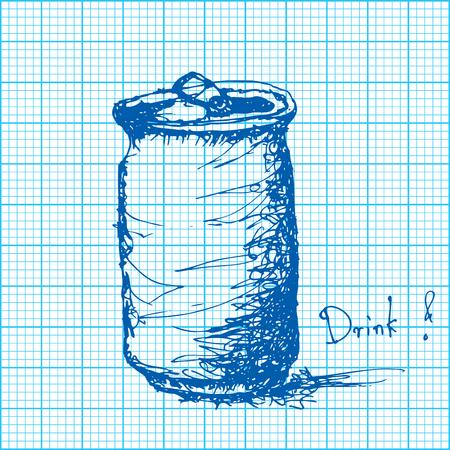 hoja cuadriculada: dibujo de refresco lata en papel cuadriculado vector Vectores