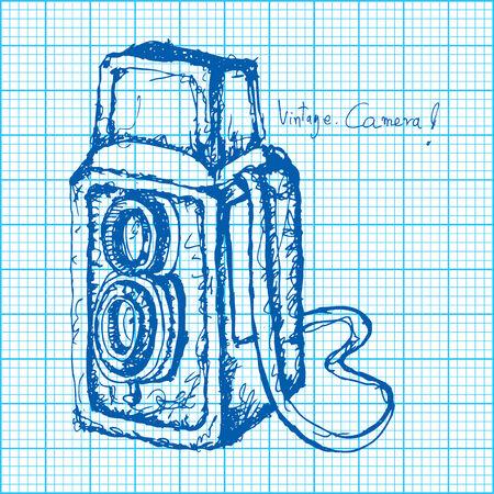 reflex camera: drawing of vintage camera on graph paper vector Illustration