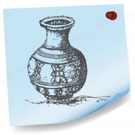 sticky paper: drawing of jar on sticky paper vector Illustration