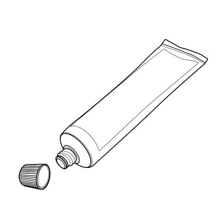 foam box: cream tube out line vector
