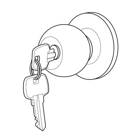 Door knob out line vector 向量圖像