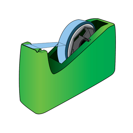adhesive tape: Tape dispenser with adhesive tape vector Illustration