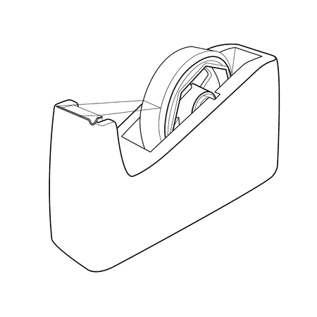 Tape dispenser with adhesive tape out line vector Illustration