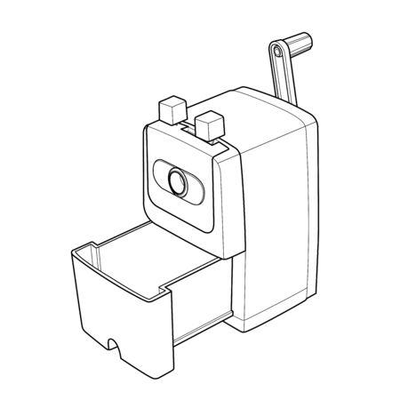 sharpener: Pencil sharpener with wood waste outline