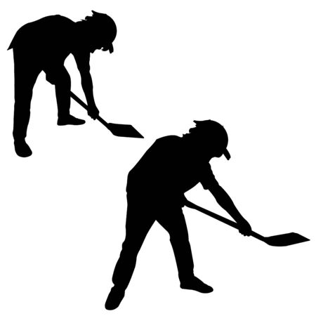digging: Silhouette of man with a spade Illustration