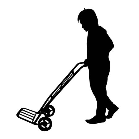 Silhouette of man with Hand Trolley vector Vector
