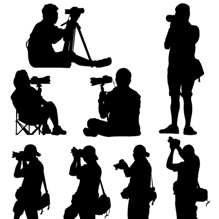 silhouette of photographer vector vector