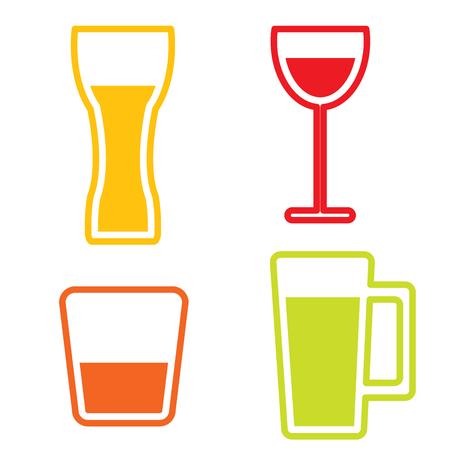Drinking glass collection  vector Vector