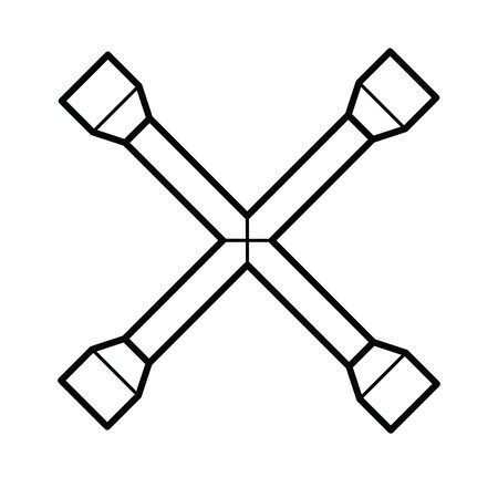 lug: Wheel wrench outline vector Illustration