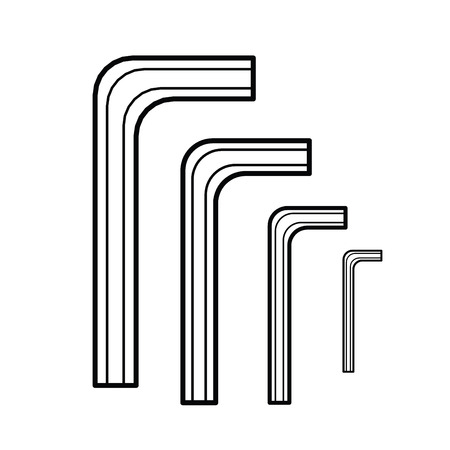 screwing: Hex wrench outline vector Illustration