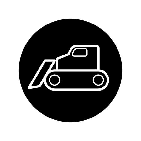 dredge to dig: caterpillar bulldozer icon Vector
