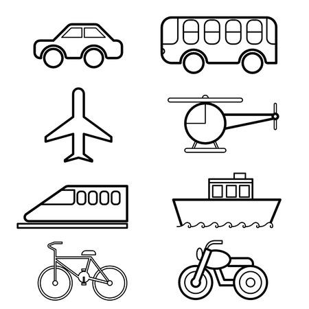 transportation icon: Transportation icon set vector
