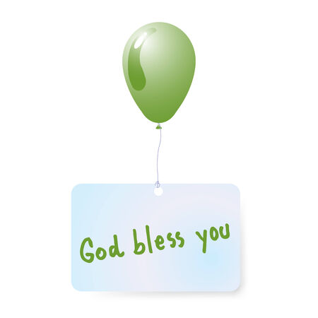 god bless: balloon with god bless you tag vector