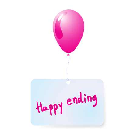 balloon with happy ending  tag vector Illustration