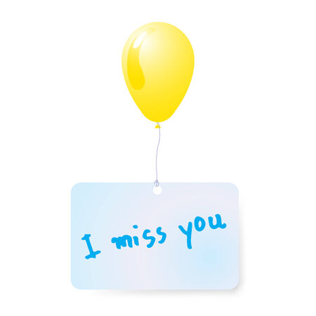 i miss you: balloon with i miss you tag vector