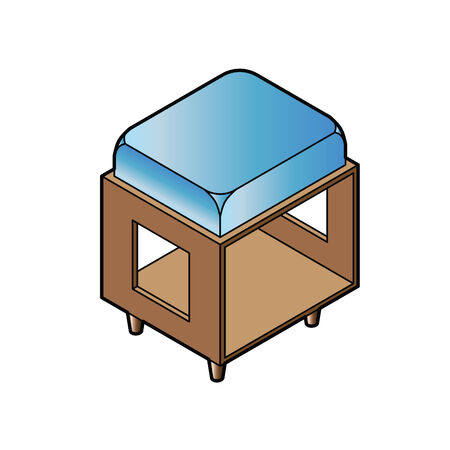 articles of furniture: short stool chair vector Illustration