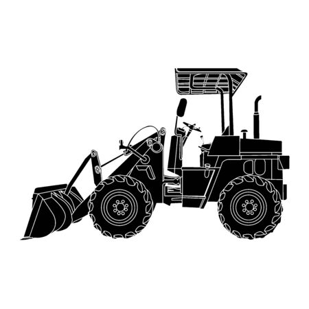 wheeled: silhouette of wheeled tractor vector