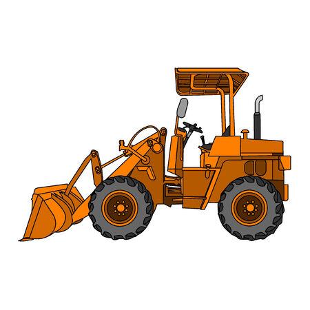 yellow wheeled tractor vector Vector