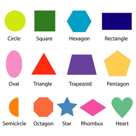 heptagon: shapes chart for kids vector Illustration