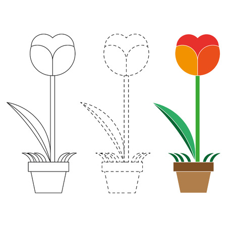 for: Flower  coloring book and  dotted line vector