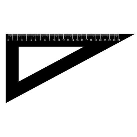 millimeters: silhouette of Triangle Ruler vector