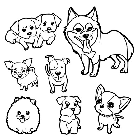 lick: Coloring Book Dog set vector