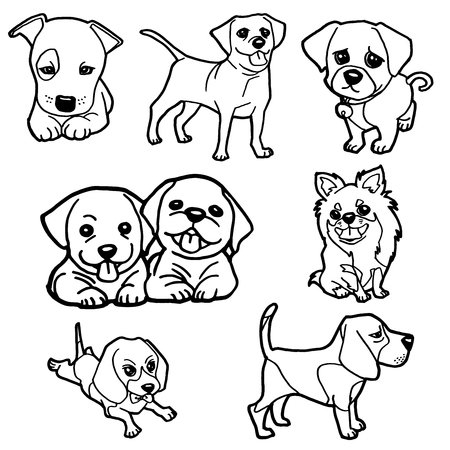 beagle puppy: puppy coloring book set vector