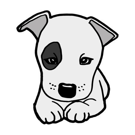 白いベクトルに分離した子犬