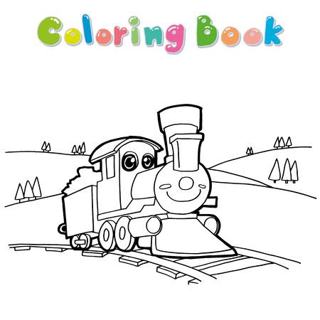 maquina de vapor: Tren de dibujos animados para colorear vectorial
