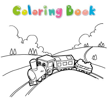 train engine: Train cartoon coloring page vector