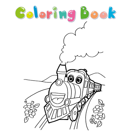 Coloración Reservar El Tren Con Un Carro Para Los Niños. Ilustración ...