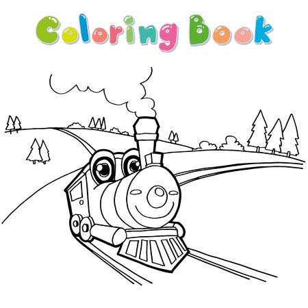 train cartoon: Train cartoon coloring page vector