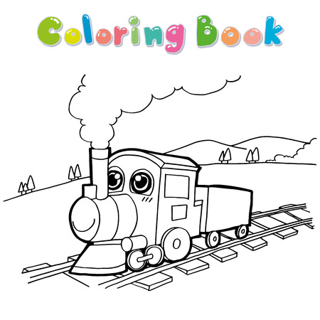 steam train: Train cartoon coloring page vector