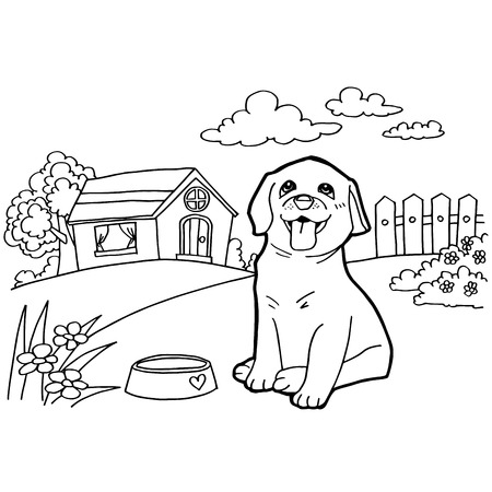 Coloring book with dog and landscape 向量圖像