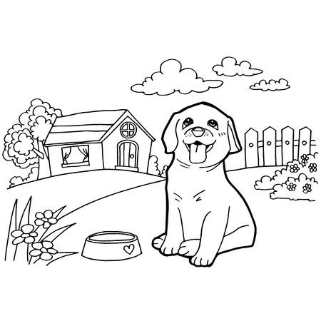Malbuch mit Hund und Landschaft Standard-Bild - 42723926