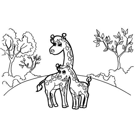 Dibujos Animados Lindo Jirafa Para Colorear Página Ilustración ...