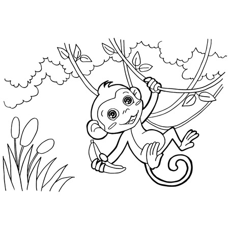 chimpanzees: monkey cartoon coloring pages vector Illustration