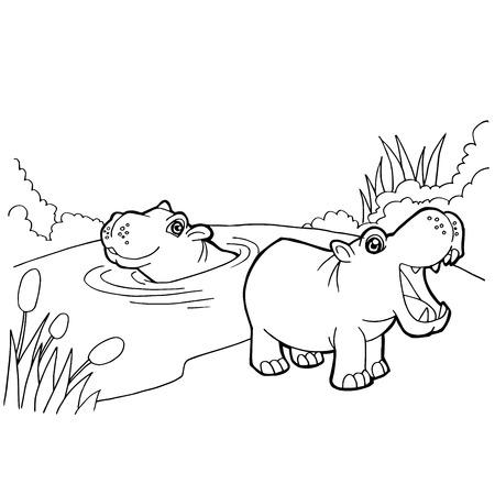 Hipopótamo De Dibujos Animados Estilizada Hipopótamo Nadando Entre