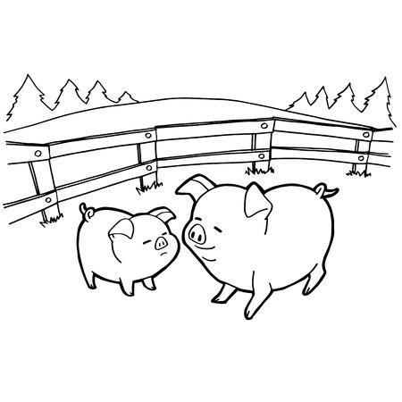 豚漫画着色ページ ベクトルします。