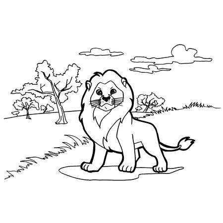 dibujos para pintar: Le�n de dibujos animados para colorear vectorial Vectores