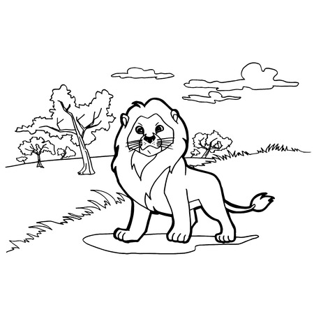 Lion Cartoon Coloring Pages Vector Royalty Free Cliparts Vectors