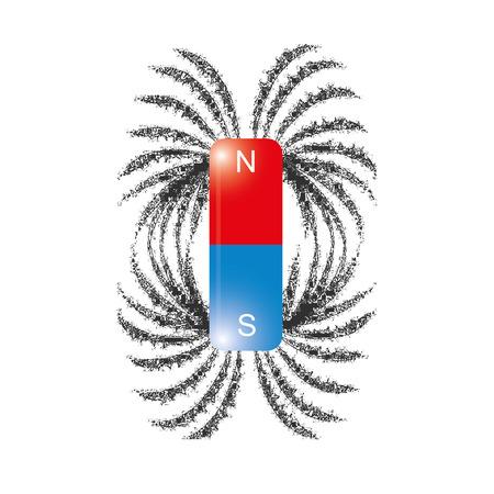 Eisenspäne Magnetfeldlinien Vektor- Standard-Bild - 44336507