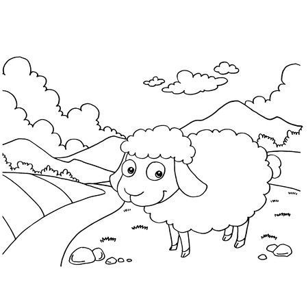 Sheep Colouring Pages vector Illustration