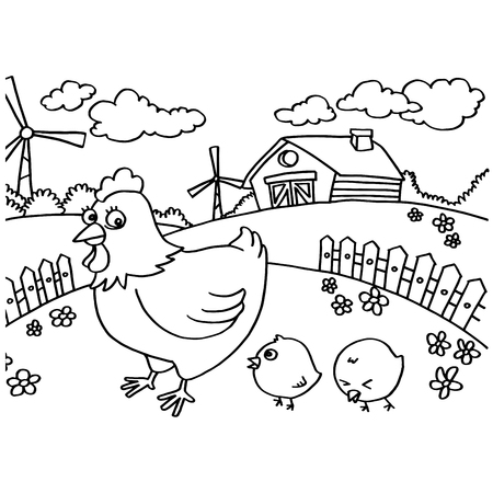 cocky: Chicken Coloring Pages vector Illustration