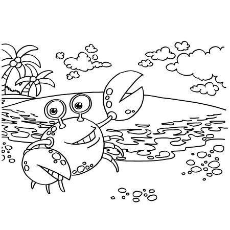 crustacea: Crab Coloring Pages vector