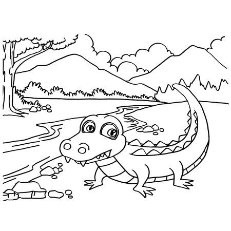 Eine Karikatur Niedliche Krokodil Färbung Seite Vektor-Illustration ...