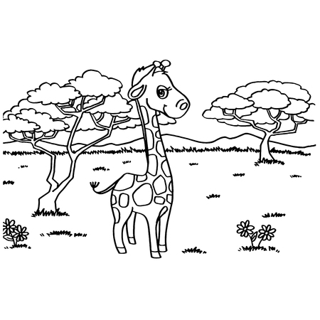 spitz: Giraffe Coloring Pages vector Illustration