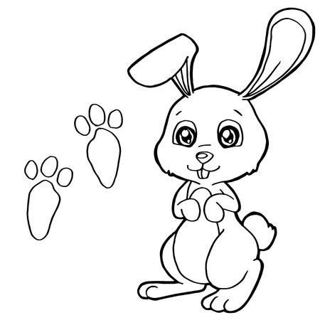 dibujos para pintar: impresi�n de la pata con los conejos para colorear vectorial